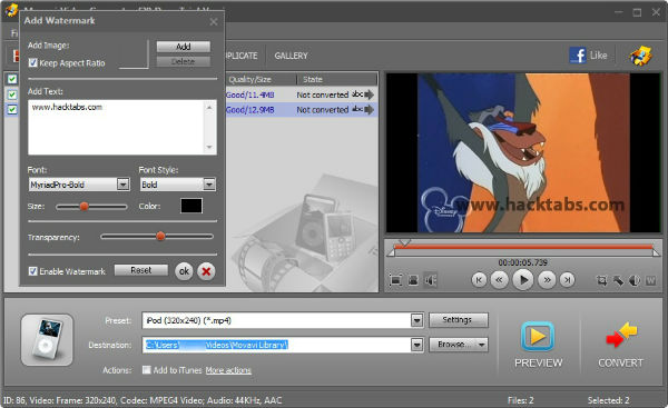 Movavi Video Converter Watermark